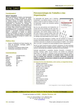 Psicossociologia do Trabalho e das Organizações