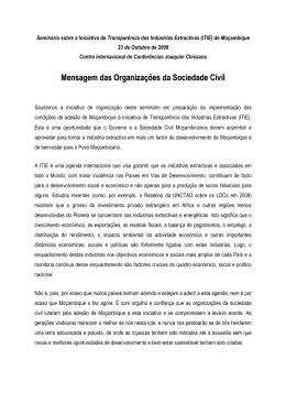 Mensagem das Organizações da Sociedade Civil