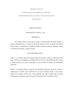 Código Eleitoral CONCAM Capivari 2015 [Retificado]