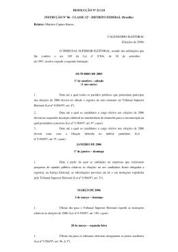 Calendário Eleitoral - TRE-ES