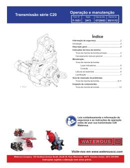 Transmissão série C20 Índice Operação e manutenção