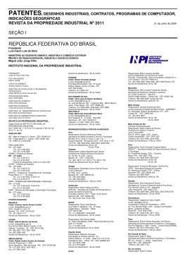 DIRETORIA DE PATENTES - Revista da Propriedade Industrial