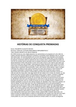 HISTÓRIAS DE CONQUISTA PREMIADAS
