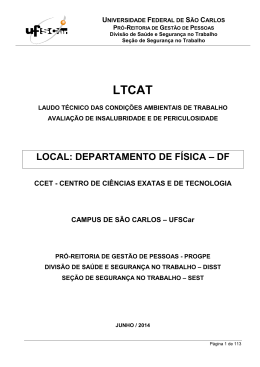 LOCAL: DEPARTAMENTO DE FÍSICA – DF - Pró