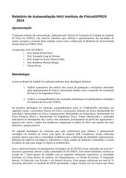 Relatório de Autoavaliação NAU Instituto de Física/UFRGS 2014
