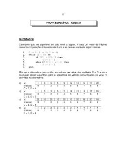 17 QUESTÃO 36 Considere que, no algoritmo em alto nível a seguir