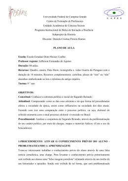Plano de aula - Guerra do Paraguai - Daniela Cristina