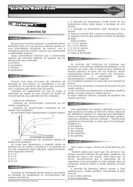 Lista de exercícios 3ºAno_Apostila 01 - Biologia I