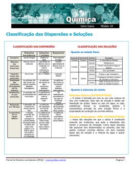 Classificação das Dispersões - Portal de Estudos em Química
