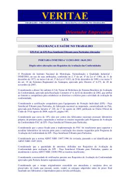Portaria INMETRO 11 11 - EPI- PAC de EPI - Peça