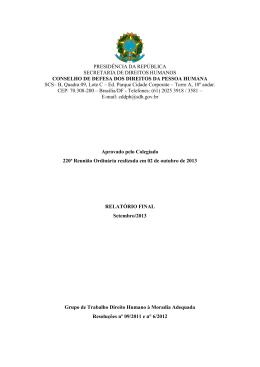 Relatório G.T Moradia Adequada - Secretaria de Direitos Humanos