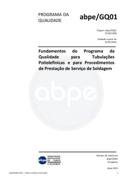 1 – abpe/GQ01 - Associação Brasileira de Tubos Poliolefínicos e