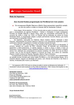 MODELO DE RELEASE - Santander Financiamentos