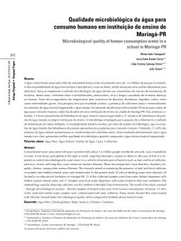 Qualidade microbiológica da água para consumo