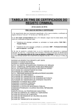 tabela de fins de certificados do registo criminal