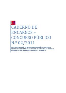 CADERNO DE ENCARGOS – CONCURSO PÚBLICO N.º 02/2011