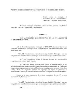 LEI Nº 13 - Prefeitura Municipal De Goiatuba