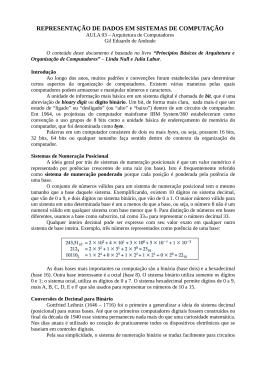 REPRESENTAÇÃO DE DADOS EM SISTEMAS DE COMPUTAÇÃO