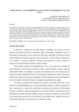 UMA EXPERIÊNCIA COM O TEXTO LITERÁRIO EM SALA DE