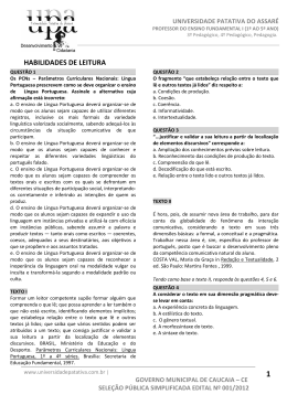 prova de ensino fundamental - Universidade Patativa do Assaré