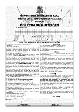 BOLETIM DE QUESTÕES