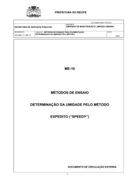 """Determinacao da Umidade pelo Metodo Expedido (""""Speedy"""")"""