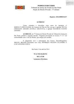 PODER JUDICIÁRIO Tribunal de Justiça do Estado de São Paulo