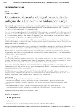 Comissão discute obrigatoriedade de adição de cálcio