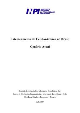 Patenteamento de Células-tronco no Brasil Cenário Atual