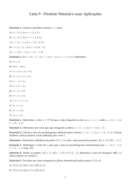 Lista 9 - Produto Vetorial e suas Aplicações