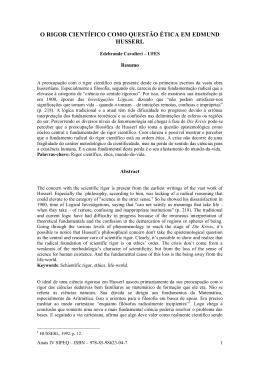 o rigor científico como questão ética em edmund husserl