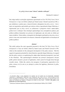 """As Policy Sciences como """"ciência"""": método e reificação*"""