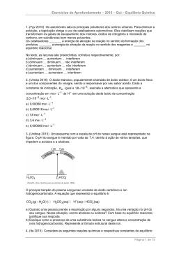 lista de equilíbrios químicos