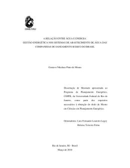 a relação entre água e energia: gestão energética nos - PPE