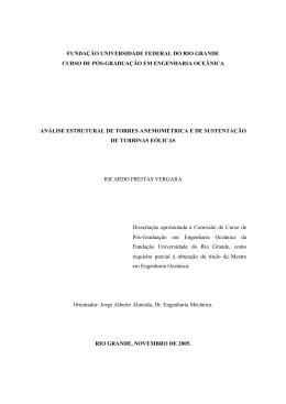 VERGARA, R. F., Análise estrutural de Torres anenométricas e de