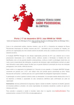 Porto | 17 de dezembro 2013 | das 09h00 às 18h00