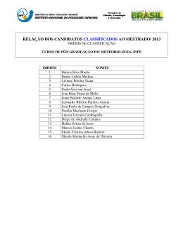relação dos candidatos classificados ao mestrado/ 2013