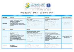 Data - Congresso Medicina do Esporte