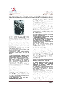 desafio vestibulares – primeira guerra, revolução russa, crise de 1929