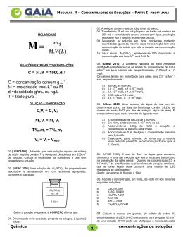 C = M.M = 1000.d.T C = concentração comum g.L M