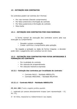 13 - EXTINÇÃO DOS CONTRATOS Os contratos podem