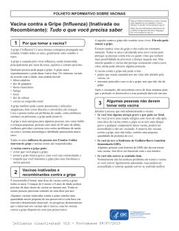 Folheto Informativo sobre Vacinas: Vacina Inativada contra a Gripe