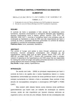 CONTROLE CENTRAL E PERIFÉRICO DA INGESTÃO ALIMENTAR