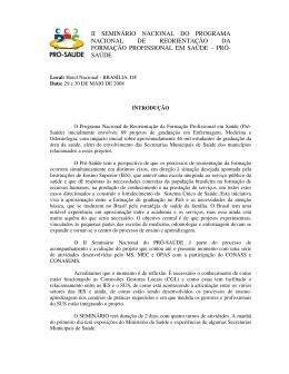 II SEMINÁRIO NACIONAL DO PROGRAMA NACIONAL - Pró