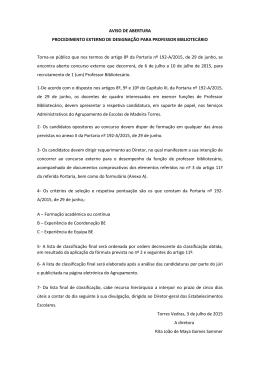 AVISO DE ABERTURA PROCEDIMENTO EXTERNO DE DESIGNAÇÃO PARA