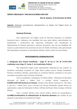 Ofício Circular - Divulga procedimentos administrativos