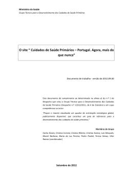"""O site """" Cuidados de Saúde Primários – Portugal. Agora, mais do"""