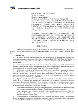 TCU - Incorporação de quintos depende de designação