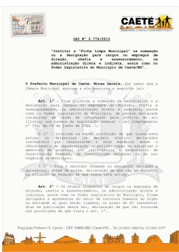 """LEI Nº 2.776/2013 """"Institui a """"Ficha Limpa Municipal"""" na nomeação"""