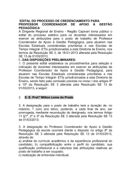 EDITAL DO PROCESSO DE CREDENCIAMENTO PARA